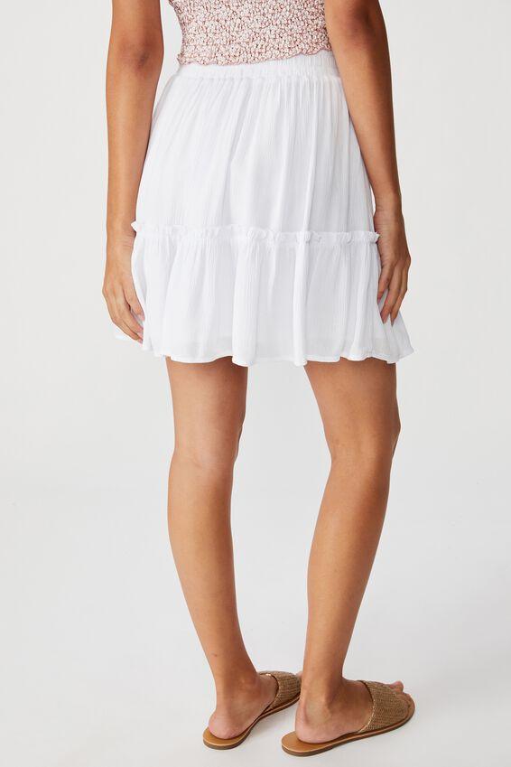 Kaiya Frill Hem Skirt, WHITE