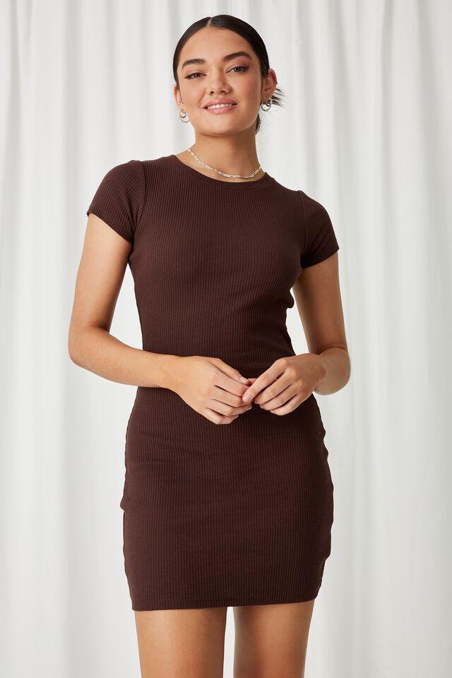 Lucia Rib Tee Mini Dress, CHOCOLATE