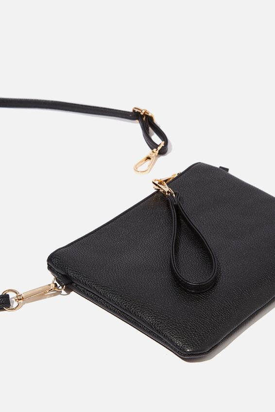 Sofia Zip Pouch With Wrist Strap, BLACK PEBBLE