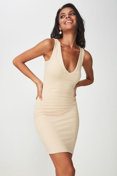 V Neck Mini Dress, FRAPPE