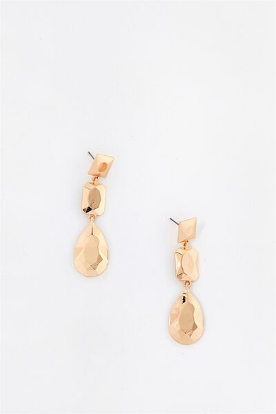 Gem Look Earrings, GOLD