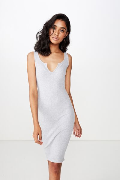 Edie Notch Rib Midi Dress, GREY MARLE
