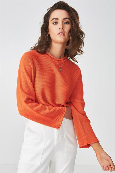 Libby Cropped Knit Top, ORANGE