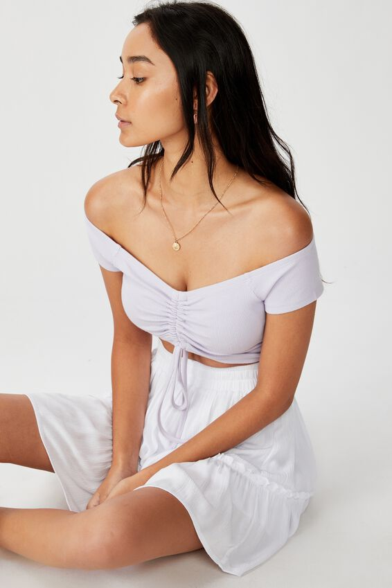 Keri Off The Shoulder Ruched Top, SOFT LILAC