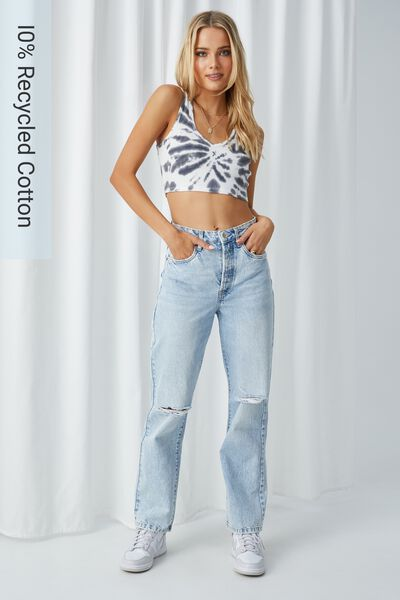High Rise Straight Ripped Jean, BLUE OPAL