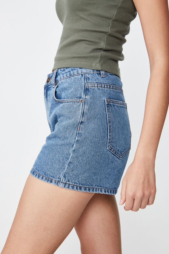 Venice Mom Denim Short, MARINE MID BLUE