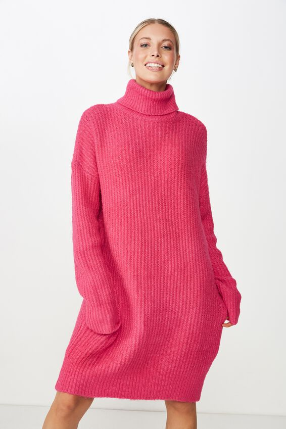 Crystal Long Sleeve Knit Dress, RASPBERRY PINK