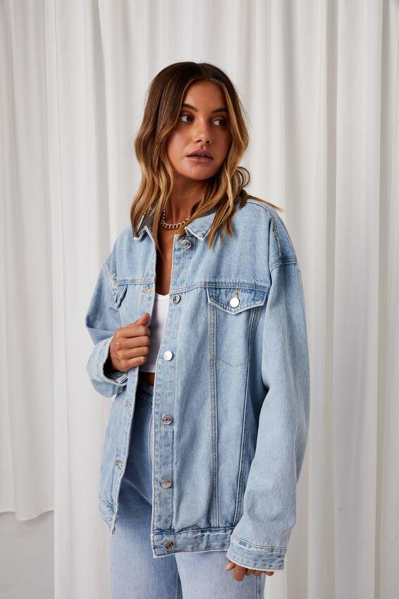 Oversized Denim Jacket, MID BLUE