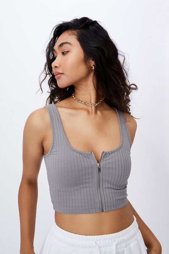 Jaelynn Zip Through Crop Tank, PEARL GREY
