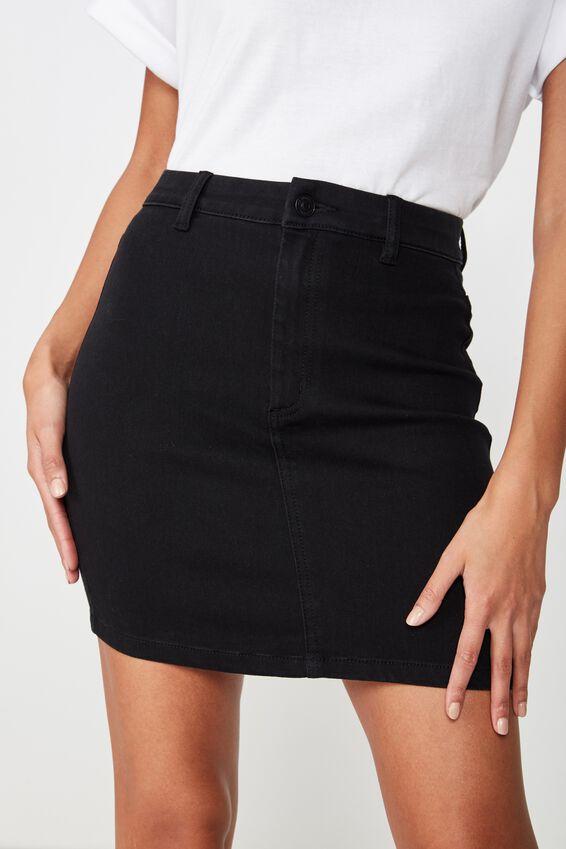 Chloe Stretch Denim Mini Skirt, BLACK