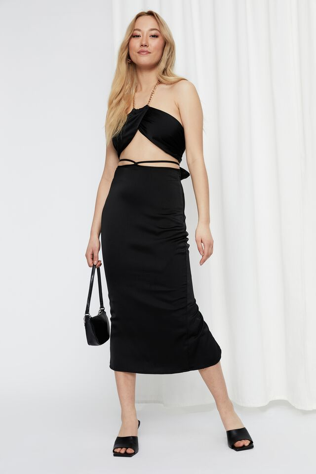 Satin Tie Waist Maxi Skirt, BLACK