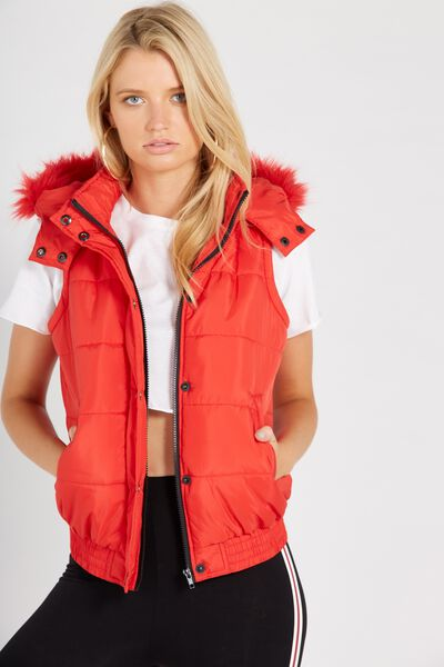 Faux Fur Trim Puffa Vest, RED