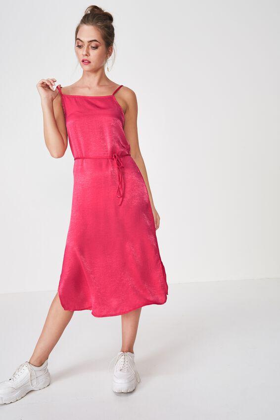 Bella Midi Dress, HOT PINK