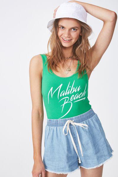 Graphic Bodysuit, GREEN/MALIBU