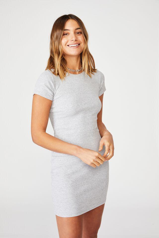 Lucia Rib Tee Mini Dress, GREY MARLE