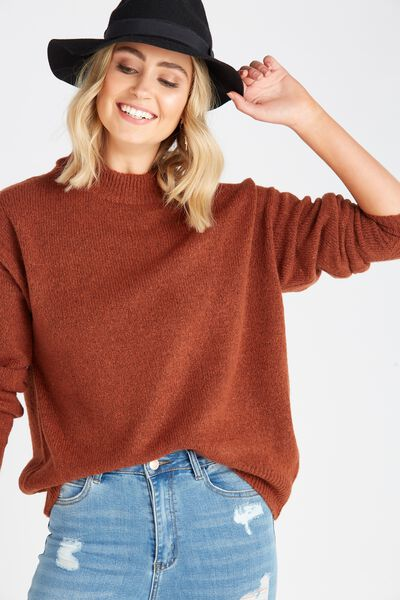 Courtney Cosy Knit Top, TOFFEE
