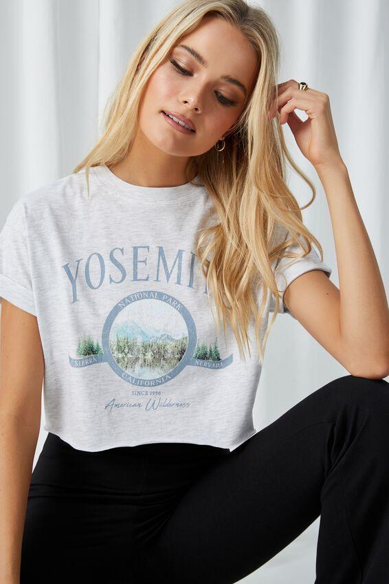 Tamara Printed Crop T Shirt, LIGHT GREY MARLE/YOSEMITE