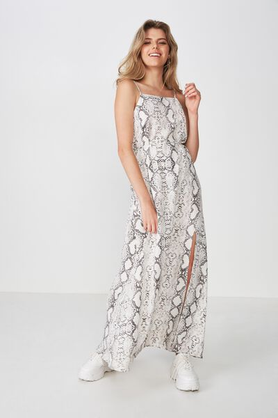 Strappy Maxi Dress, BEIGE SNAKE