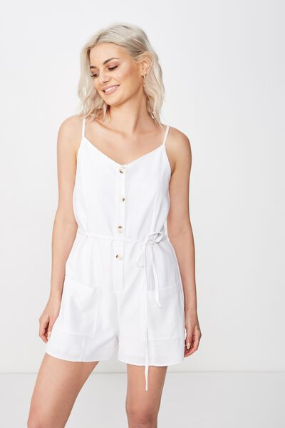 Charlie Button Front Linen Playsuit, WHITE