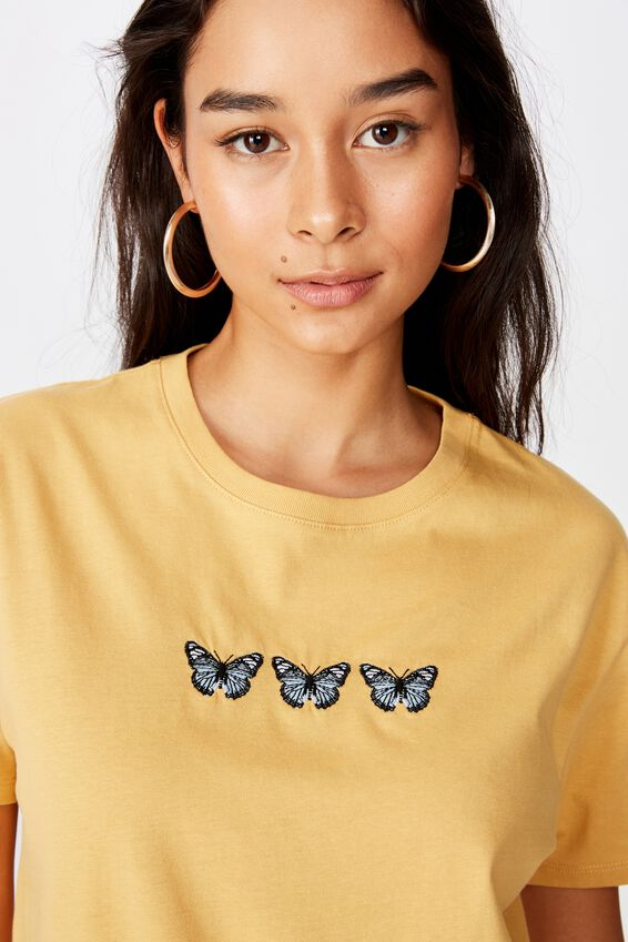 Lola Printed Longline Tee, SUNFLOWER/TRIO BUTTERFLY
