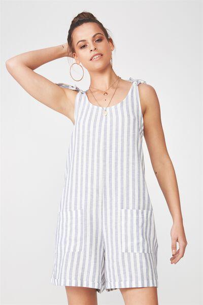 Lexi Tie Shoulder Linen Blend Playsuit, THICK BLUE STRIPE