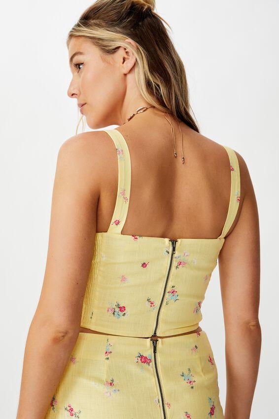 Nina Shirred Side Top, SUNSHINE YELLOW FLORAL