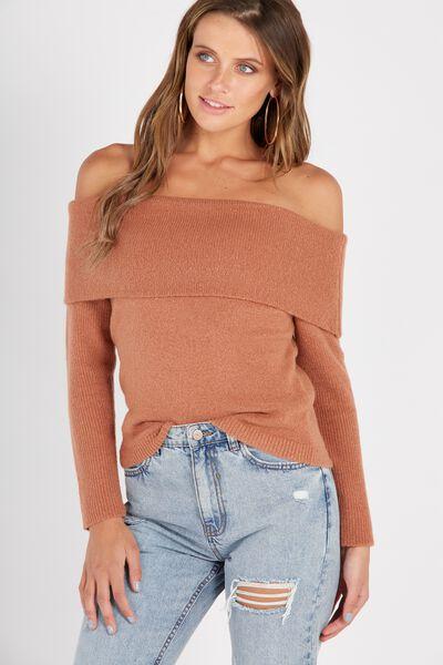 Cosy Off Shoulder Knit Top, CAMEL ROSE