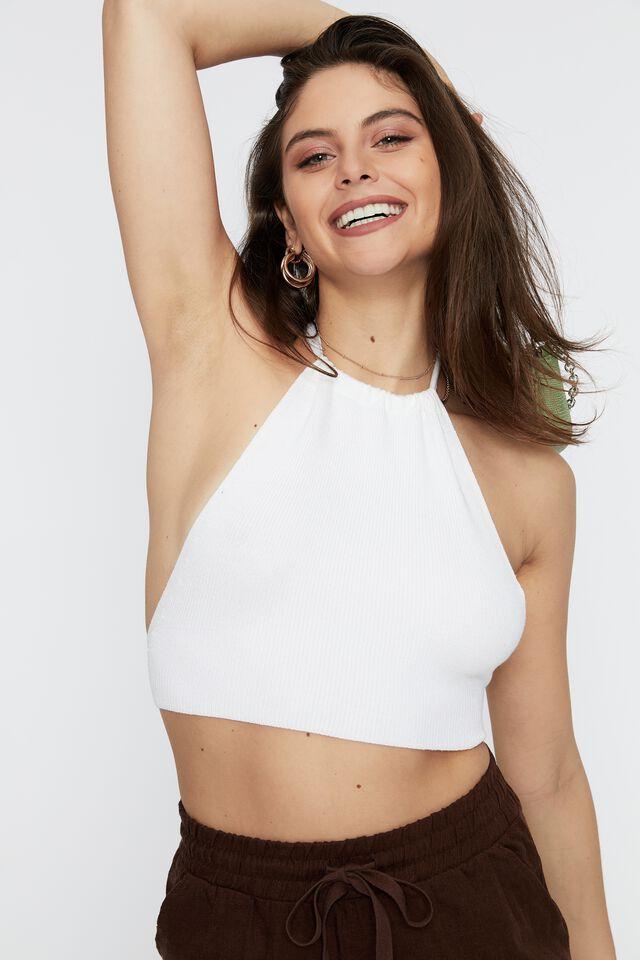 Mischa Open Tie Back Knit Sleeveless Top, WHITE