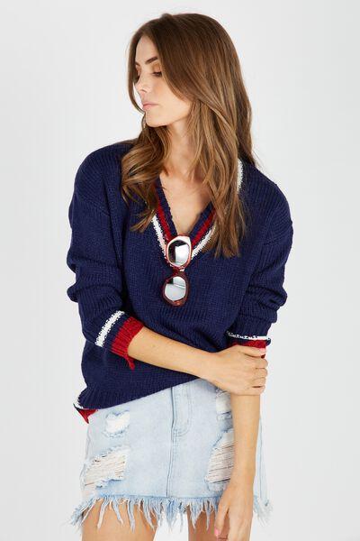 Viky V Neck Knit Sweater, NAVY/TIPPING