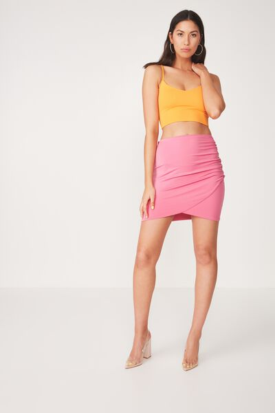 Party Wrap Mini Skirt, ROSE PINK