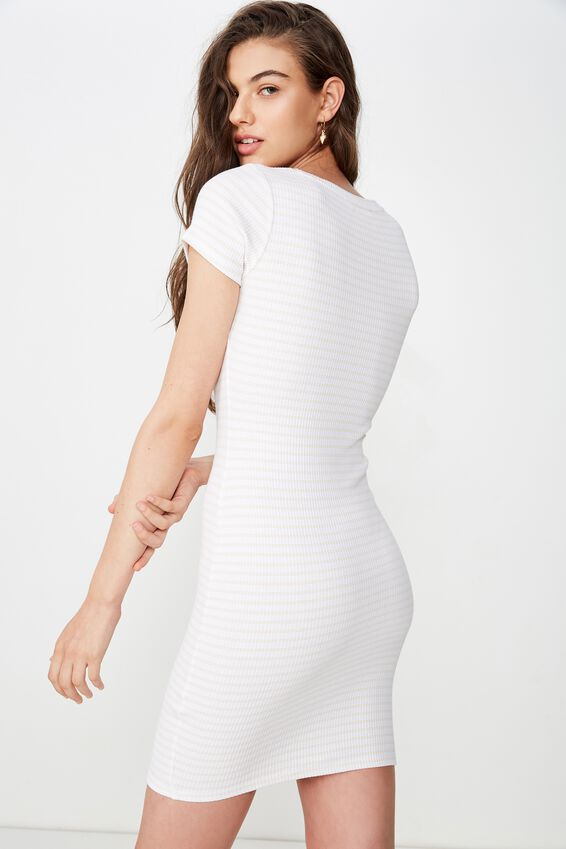 Lucia Rib Tee Mini Dress, DUO STRIPE (WHT/APRICOT BLUSH)