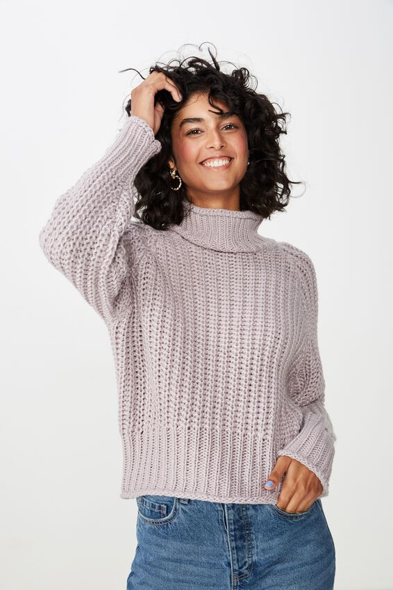 Lily Long Sleeve High Neck Knit, LAVENDER GREY