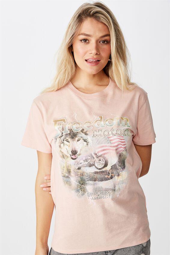 Lola Printed Longline T Shirt, DUSK PINK FREEDOM MOTORS