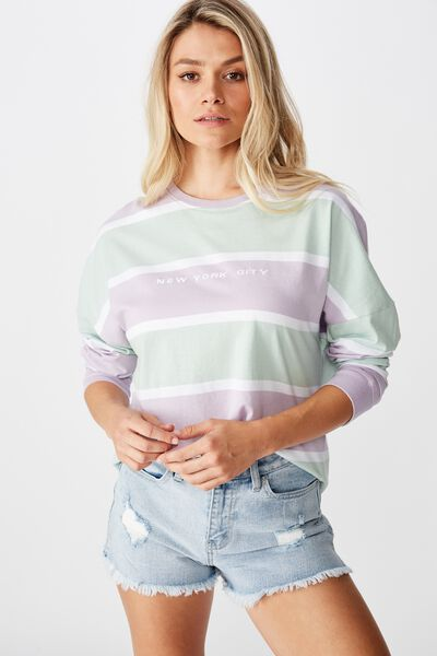 Barbados Long Sleeve Tee, FAIRY LILAC/MINTY GREEN STRIPE/NEW YORK CITY MONO