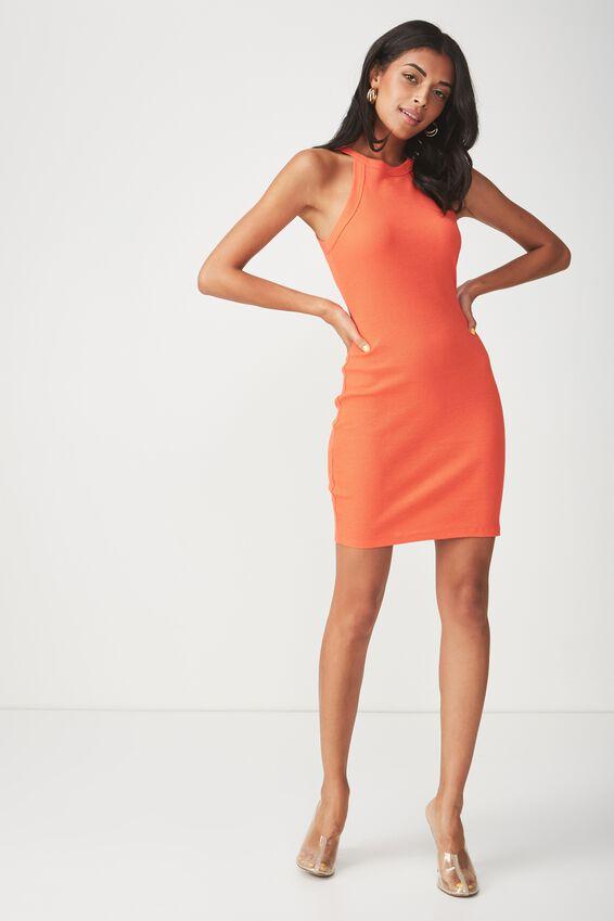 High Neck Rib Mini Dress, TANGERINE