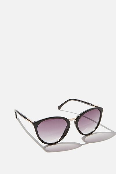 Lyla Round Sunglasses, BLACK
