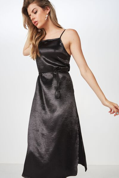 Phoebe Satin Strappy Midi Dress, BLACK