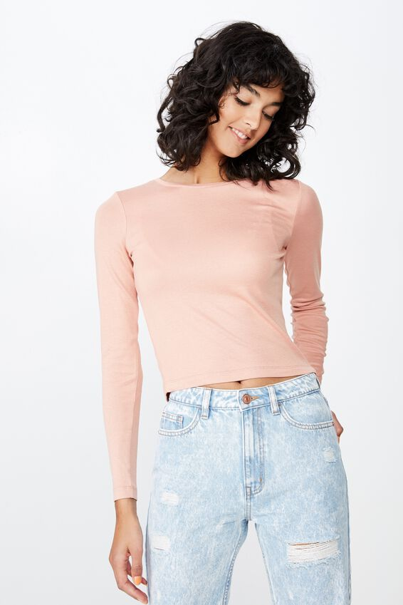 Jayla Long Sleeve Crew Neck Top, VINTAGE PINK