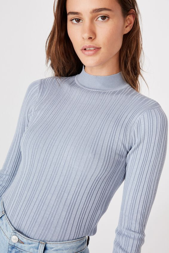 Monica High Neck Long Sleeve Knit, BLUE RIDER