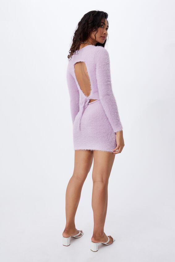 Winter Fluffy Mini Dress, PALE JASMINE
