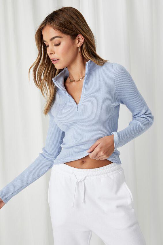 Nancy Quarter Zip Knit Top, COOL BLUE