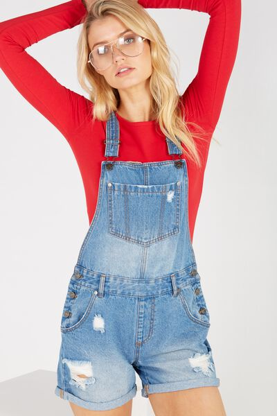 Distressed Rolled Hem Denim Dungaree, ORIGINAL BLUE