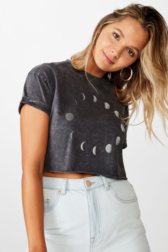 Tamara Graphic Crop Tee, WASHED BLACK MOON ECLIPSE