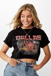Dallas Crop Tee, BLACK/DALLAS