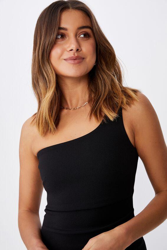 Evelyn One-Shoulder Ponte Dress, BLACK