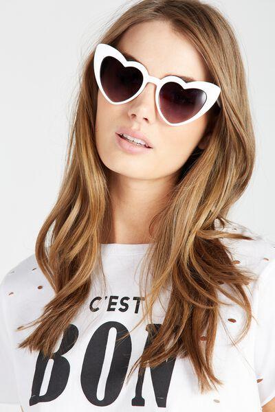 Lily Lovehearts Sunglasses, WHITE