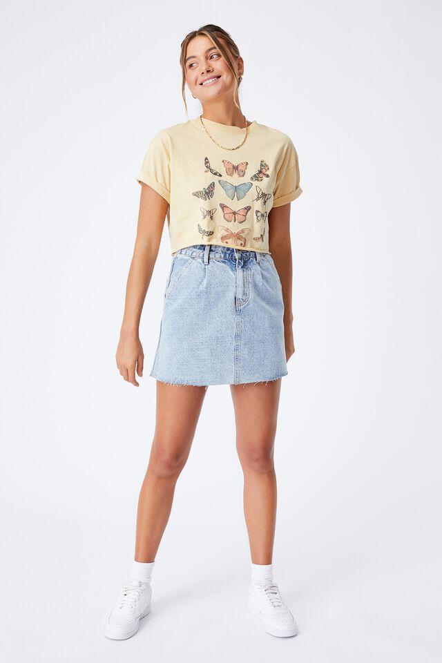 Tamara Printed Crop T Shirt, BUTTERMILK/BUTTERFLIES