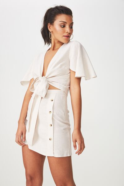 Lola Side Button Linen Blend Skirt, ECRU MARLE