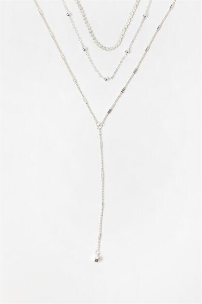 Diamonte Lariat Necklace, SILVER