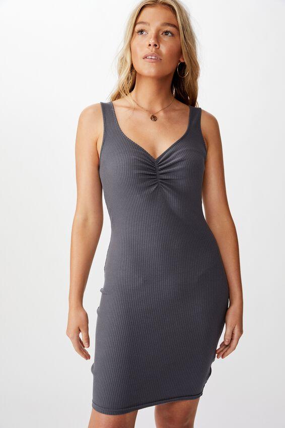 Ellie Tank Mini Dress, GRANITE GREY